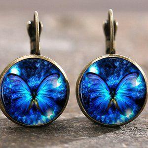 NEW Violet Blue Butterfly Earrings